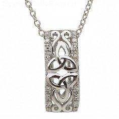 10K White Gold Diamond Trinity Knot Pendant