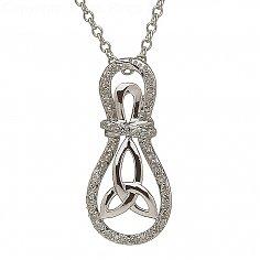 10K White Gold Trinity Knot Diamond Celtic Pendant