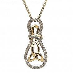 10K Gold Trinity Knot Diamond Set Pendant