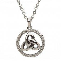10K White Gold Diamond Set Round Trinity Pendant
