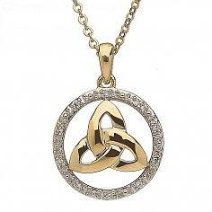 10K Gold Diamond Round Trinity Pendant