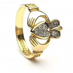 Pavé de diamants Claddagh - Or jaune