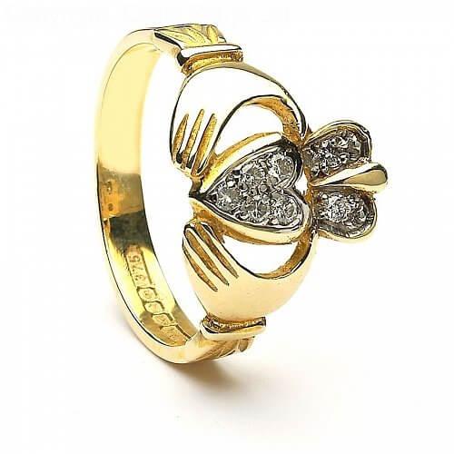 Claddagh Diamant pflastern - Gelbgold