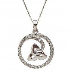 10K White Gold Diamond Trinity Circle Pendant