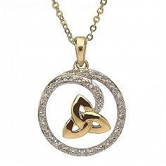 10K Yellow Gold Trinity Knot Diamond Pendant