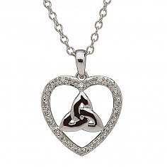 10K White Gold Diamond Heart Trinity Pendant