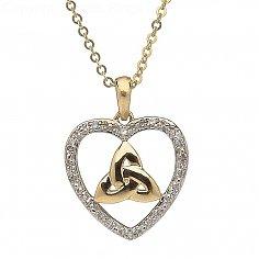 10K Gold Diamond Set Heart Trinity Pendant