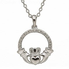 10K White Gold Claddagh Diamond Set Pendant