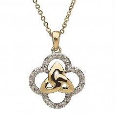 10K Gold Diamond Trinity Knot Design Pendant