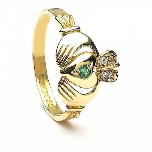 Eleganter Claddagh Ring - Gelbgold