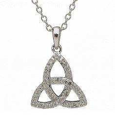 10K White Gold Diamond Set Trinity Knot Pendant