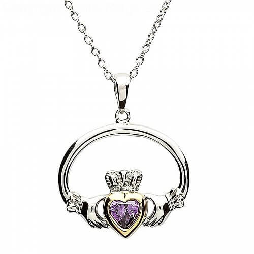 Claddagh Pendant With Amethyst Gold Plate Heart