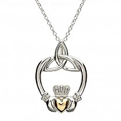 Silver Claddagh with Trinity Knot Pendant