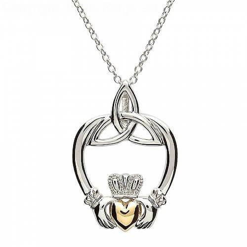 Silber Claddagh mit Trinity Knoten-Anhänger