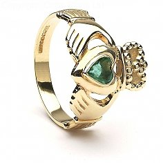 Emerald Heart Claddagh Ring - Yellow Gold