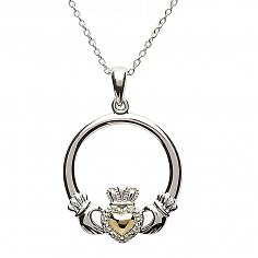Silver Diamond Claddagh Pendant