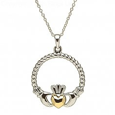 Argent Claddagh Or Pendentif Coeur