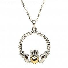 Silber Claddagh Gold-Herz-Anhänger