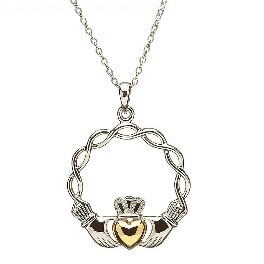 claddagh products with sparkling celtic stones necklace silver irish jewelry
