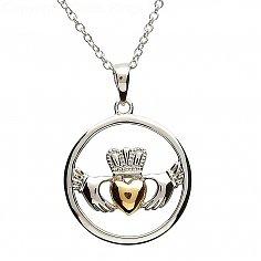 Claddagh Silber-Goldplatten-Herz-Anhänger