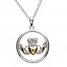 Claddagh Silver Gold Plate Pendentif Coeur
