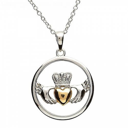 Claddagh Silver Gold Plate Heart Pendant