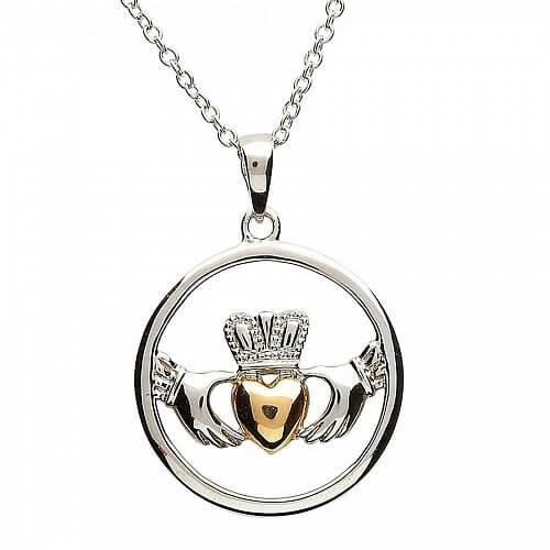 Pendentif cœur en argent plaqué or Claddagh