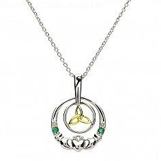 Silberner Claddagh Smaragd Diamant Anhänger