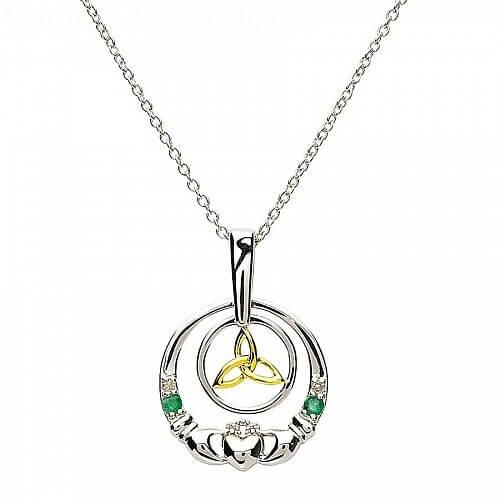 Argent Claddagh pendentif diamant émeraude
