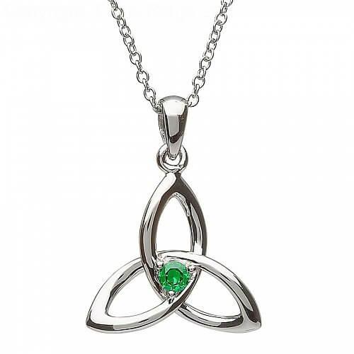 Keltischer Trinität Knoten Smaragd Anhänger