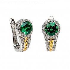 Silberne grüne CZ-keltische Ohrringe