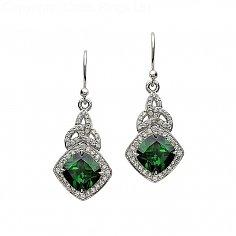 Silber grüne CZ Trinity Knoten Ohrringe