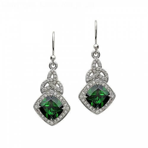 Silver Green CZ Trinity Knot Earrings