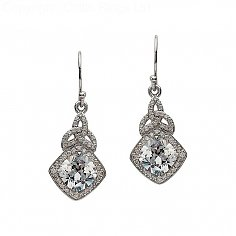 Silver CZ Trinity Knot Earrings