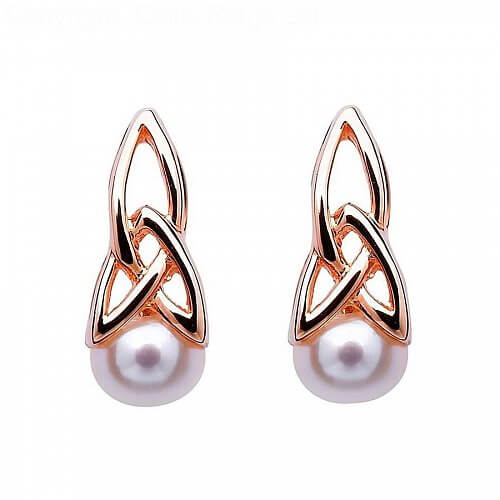 Rose Gold Plated Trinity Earrings with Pearl