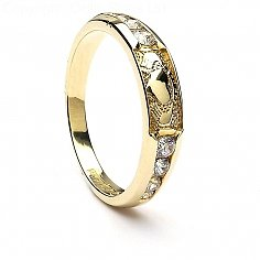 Claddagh CZ Eternity Ring - Yellow Gold