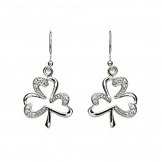 Silver Stone Set Shamrock Earrings