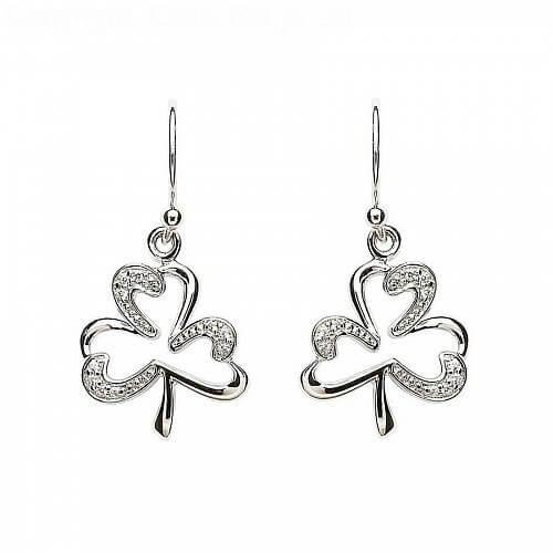 Silver Stone Set Shamrock Earrings
