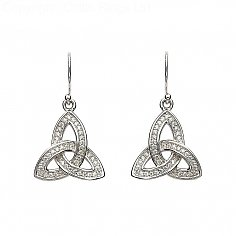 Encrusted CZ Trinity Knot Earrings