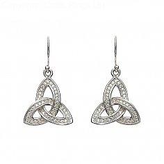 Silver Stone Set Trinity Knot Ohrringe