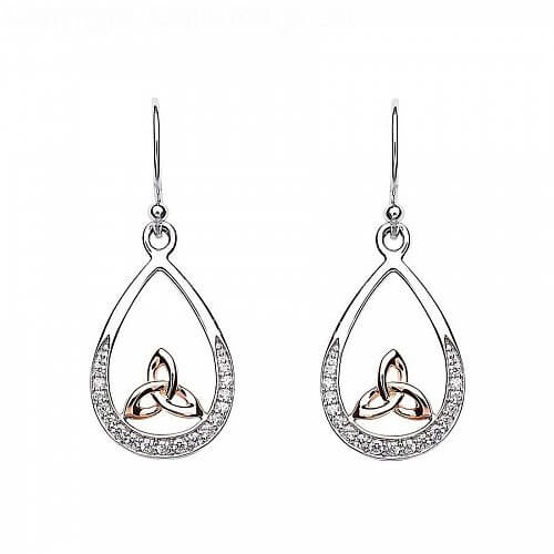 Silver Trinity Knot Earrings with Rose Gold