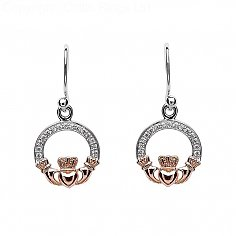 Silver Claddagh Earrings with Rose Gold