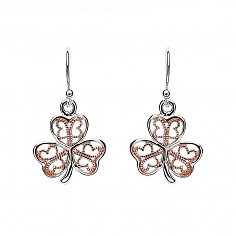 Silver Shamrock Earring with Rose Gold Filigree