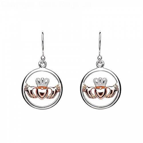 Silver Claddagh Heart Earrings