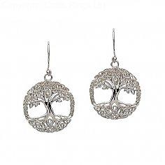 Silberner Baum der Lebens-Ohrringe