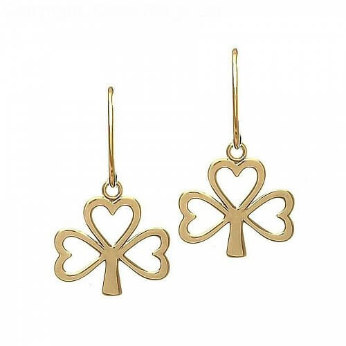 10K Gold Shamrock Earrings