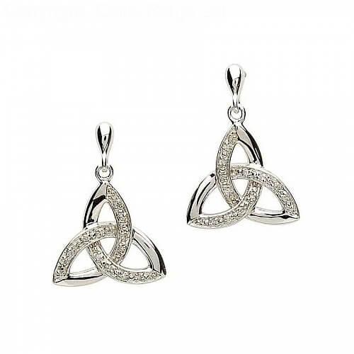 Boucles d'oreilles noeud trinité diamant