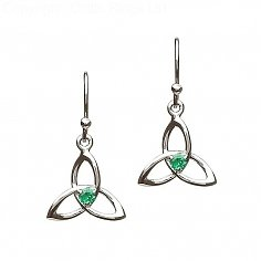 Emerald CZ Trinity Knot Earrings