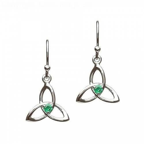 Emerald CZ Trinity Knot Earrings