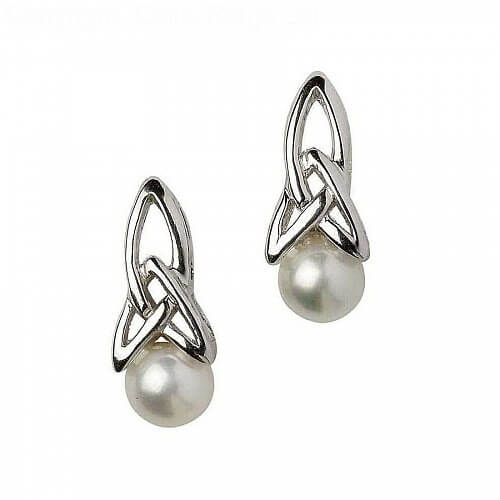 Sterling Silver Pearl Celtic Earrings